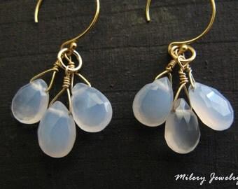 Light Blue Chalcedony Cluster Long Dangle Earrings, 14k Gold filled, Birthstone, Chalcedony Earrings, OOAK Jewelry, Delicate