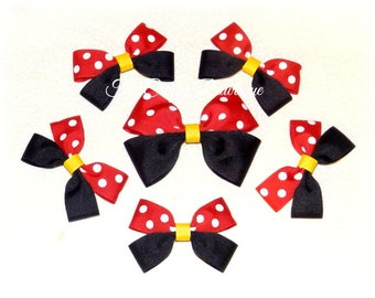 Minnie Mouse Bows ~ Mickey Mouse Bows ~ Party Bow Set ~ Birthday Party Favors ~ Red & Black Bows ~ Mickey Party Bows ~ Minnie Party Bows