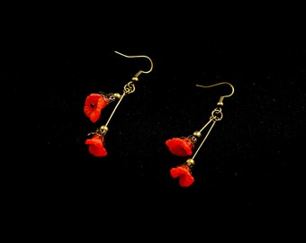 Bronze earrings, red poppy flowers (acrylic) Corolla Stud bronze