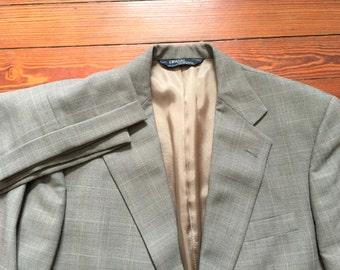 Vintage 90s Polo Ralph Lauren Gray Glen Plaid Suit 42L 36x31