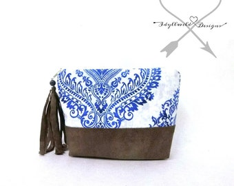 Dayden Zip Pouch in Cottage Damask, Coin Purse, Tribal Coin Purse, Boho Coin Pouch