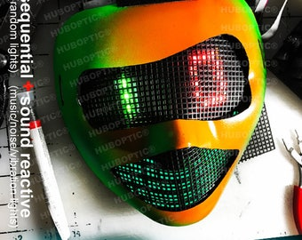 Neon17 Fx Robot Mask DJ Visor - Light Up Mask for Party Costume Cosplay Superhero Villain Ghost Cyborg Cyber Robot LED Rave Helmet Scifi EDM