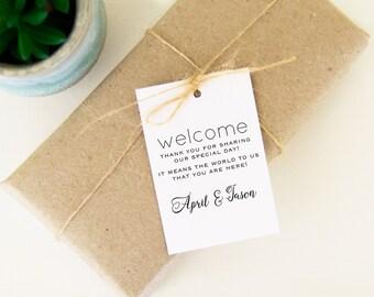 Welcome Wedding Bag Tags, Wedding Welcome Gift Tags, Welcome Favor Tags, 24 Welcome Bag Tags