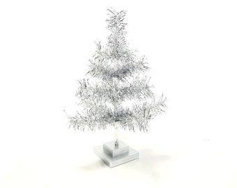 18'' Silver Tinsel Christmas Holiday Tree