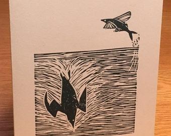 Flying fish and diving bird linocut block print card