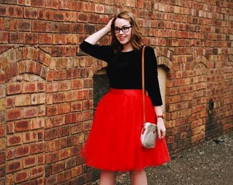 Red Signature Tulle Skirt--SALE