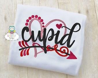 Girl Cupid Shirt or Bodysuit, Girl Valentine Shirt, Valentines Day Shirt, Valentines Day Outfit, Girls Heart Shirt