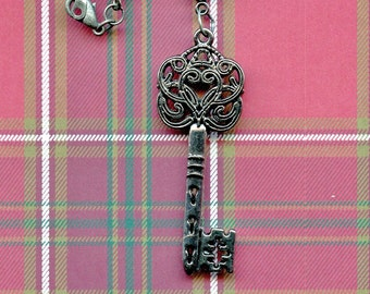 PENDANT - JEWELRY - KEY; Valentine's day, scroll work, large, 2.50 inches in length, ornate 18 inch chain