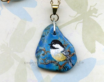 CHICKADEE- PENDANT- HAND Painted Stone: jewelry, necklace, wearable art, song bird, nature, original art, 22 inch chain