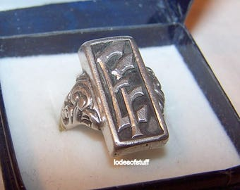 Sterling Initial Ring Vintage Sterling Ring Heavy Sterling Initial Ring EF