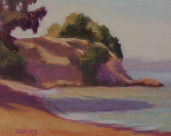 Framed California plein air landscape, 14x11