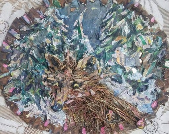 Winter Fox Mixed Media Painting on Tree Trunk Slice