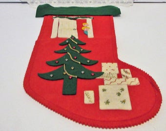 1956 Christmas Felt Stocking with Christmas Tree and Children by Hubbard