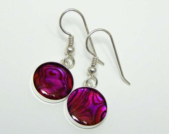 Paua Shell Earrings. Pink Paua Shell Earrings. Dangle Earrings. Drop Earrings. Abalone.