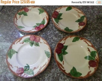 Save 25% Now Beautiful Vintage Franciscan Earthenware Apple Pattern Set of Four 6 1/4 Inch Bread Plates EUC