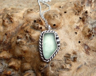 "beach glass and sterling silver necklace // 16"" chain // Sterling silver jewelry // beachy"