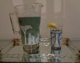 Wedgewood Jeanette glassware Pitcher Hellenic scene