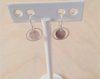 Earrings with grey agate