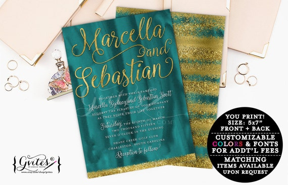 Gold glitter wedding invitation, teal green gold modern, glitter foil digital invitation, spring wedding, emerald green, couture glitz glam