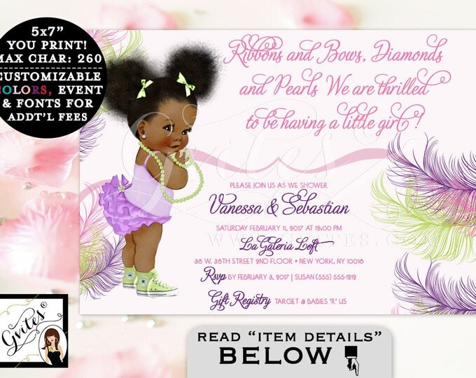 African American baby girl baby shower invitations, ruffles, lavender, purple, purple and pink ethnic baby invitation, diamonds and pearls.