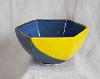 Hexagonal Ceramic Bowl in Indigo and Yellow