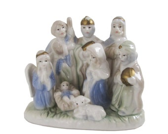 Nativity Scene 1 piece figurine, Baby Jesus, Mary, Joseph, Wise Men, Angel & Lamb small ceramic Christmas creche