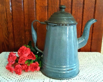 Vintage Gray Graniteware Coffeepot, Vintage Enamelware,  Vintage Graniteware Cookware,  Farmhouse Decor, Country Decor, Rustic Kitchen Decor