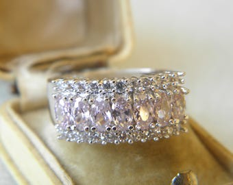 DISCOUNT PRICE on may ! Natural AAA Pink Topaz & White cz Sterling 10K Silver Ring 8