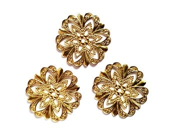 4 Brass Flower Filigree Cabochon Settings Jewelry Supplies Findings BFFCS20MM-4BD2-36