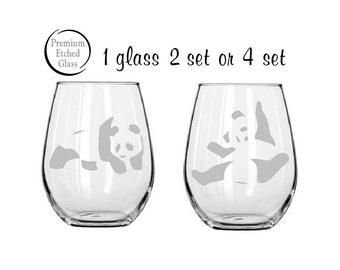 panda bear glass etched,valentines gifts,wine glasses,birthday gifts,stemless wine glass,personalized gift,customized glass,panda glass