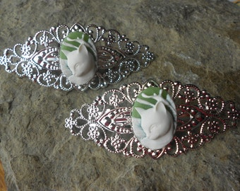Choose Green, Blue or Pink - Kitty Cat Cameo Silver Filigree Barrette - Easter - Hair Accessory -