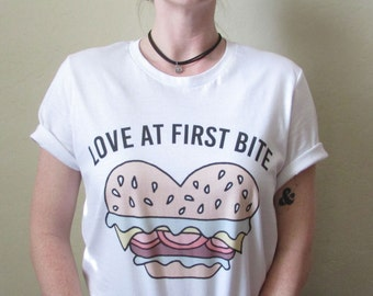 First Bite Tee / hamburger shirt / burger tshirt / food lover gift