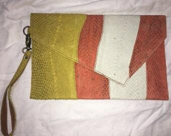 Salmon Leather Clutch- cream, yellow and light orange