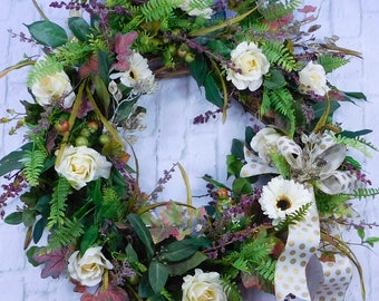 Spring Wreath, Everyday Wreath, Wreath For Spring, Spring Door Wreath, Gift For Her, All Year Wreath, Everyday Wreath, Victorian Wreath