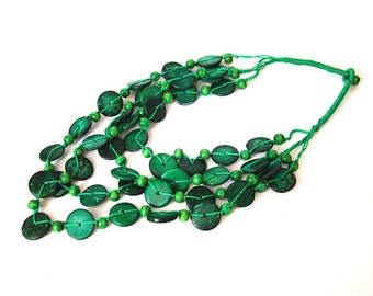 Green Coconut necklace Vintage Ethnic Tribal Necklace Eco  necklace African necklace, bib necklace, ethnic necklace, tribal necklace
