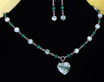 Tree agate necklace and earrings and bracelet set