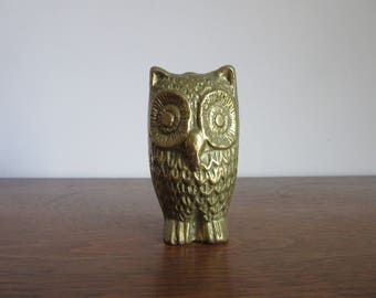 "Vintage Solid Brass Owl Figurine, 3-1/2"" Owl, Mid Century Bird Sculpture,Owl,Kitschy Brass Animals,Retro Owl, 1950's 1960's 1970's Owl Decor"