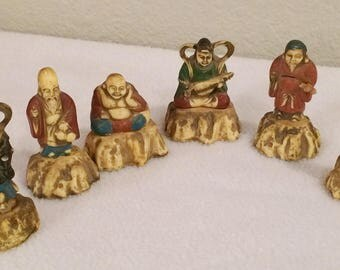 Vintage Asian Celluloid Numbered Figurines (6)