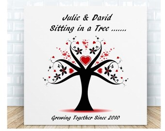 Love Message Ceramic Plaque - Sitting in a Tree. Personalised Gift. Anniversary, Birthday, Wedding, Valentine's Day