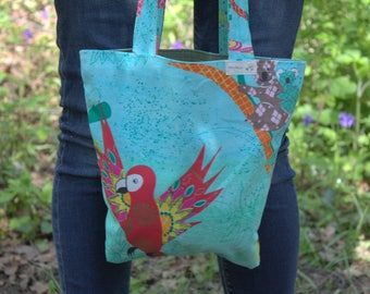 Small tote bag - parrot & jungle