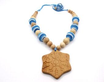 Breastfeeding necklace - Crochet nursing necklace for mom - Snowflake