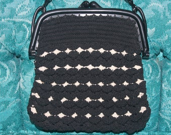 NEVER USED! Deadstock! 1930s 40s Art Deco Jet Black Off White Corde Raffia Crochet Celluloid Clutch Purse Handbag Pouch