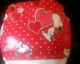 Snoopy Valentine Love and Hearts Bow Ponytail Surgical Scrub Hat