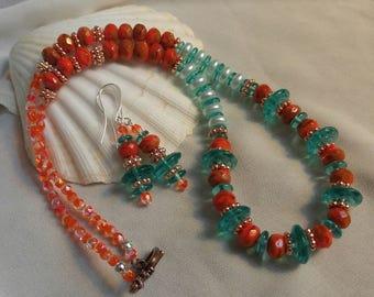 Summer Skies Aqua and Orange Czech Glass Necklace