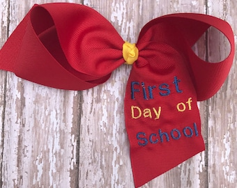 First day of school hair bow, my first day of school, first day of kindergarten, first day of preschool, school hair bow,