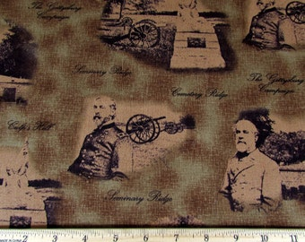 "16""x44"" Gettysburg Fabric Brown 144 From Quilting Treasures"