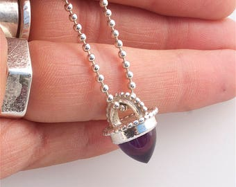 Handcrafted Sterling Silver Large Amethyst Bullet shaped gemstone  Necklace with sterling silver ball chain exclusive to JulieBJewellery
