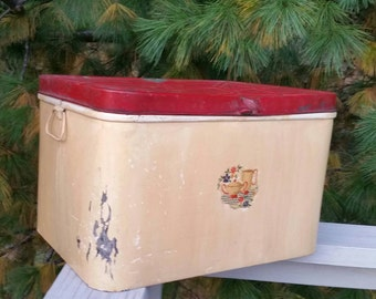 Large Distressed & Dented Metal Bread Box Red Lid