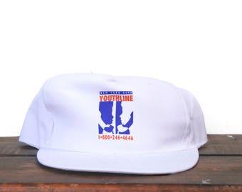 Vintage New York City Youthline Phone Hotline NYC Trucker Hat Snapback Baseball Cap