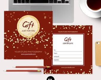 Photography Christmas Gift Certificate Template for Photographer - INSTANT DOWNLOAD - GC007